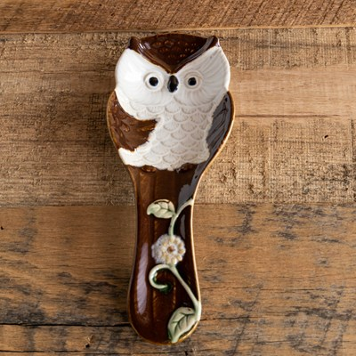Stoneware Owl Spoon Rest