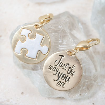"""Just The Way You Are"" Autism Awareness Puzzle Piece Charm"