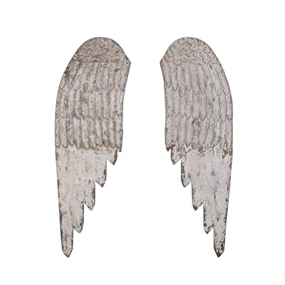 Wood Wings Wall Decor - Antique Cream