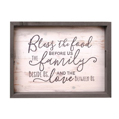 """Bless The Food"" Farmhouse Serving Tray"