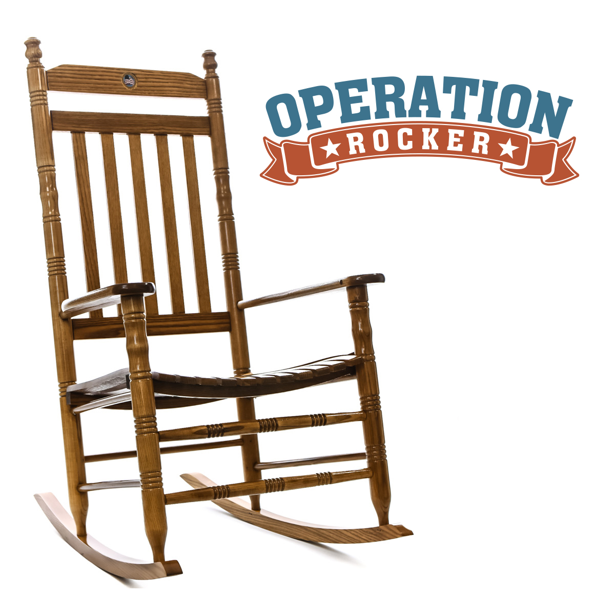 US Flag Fully Assembled Rocking Chair