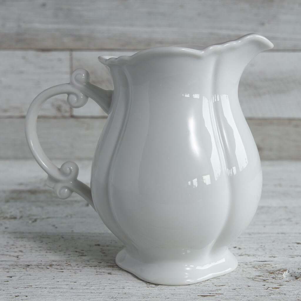 Oh Gussie! Milk White Ceramic Large Serving Pitcher