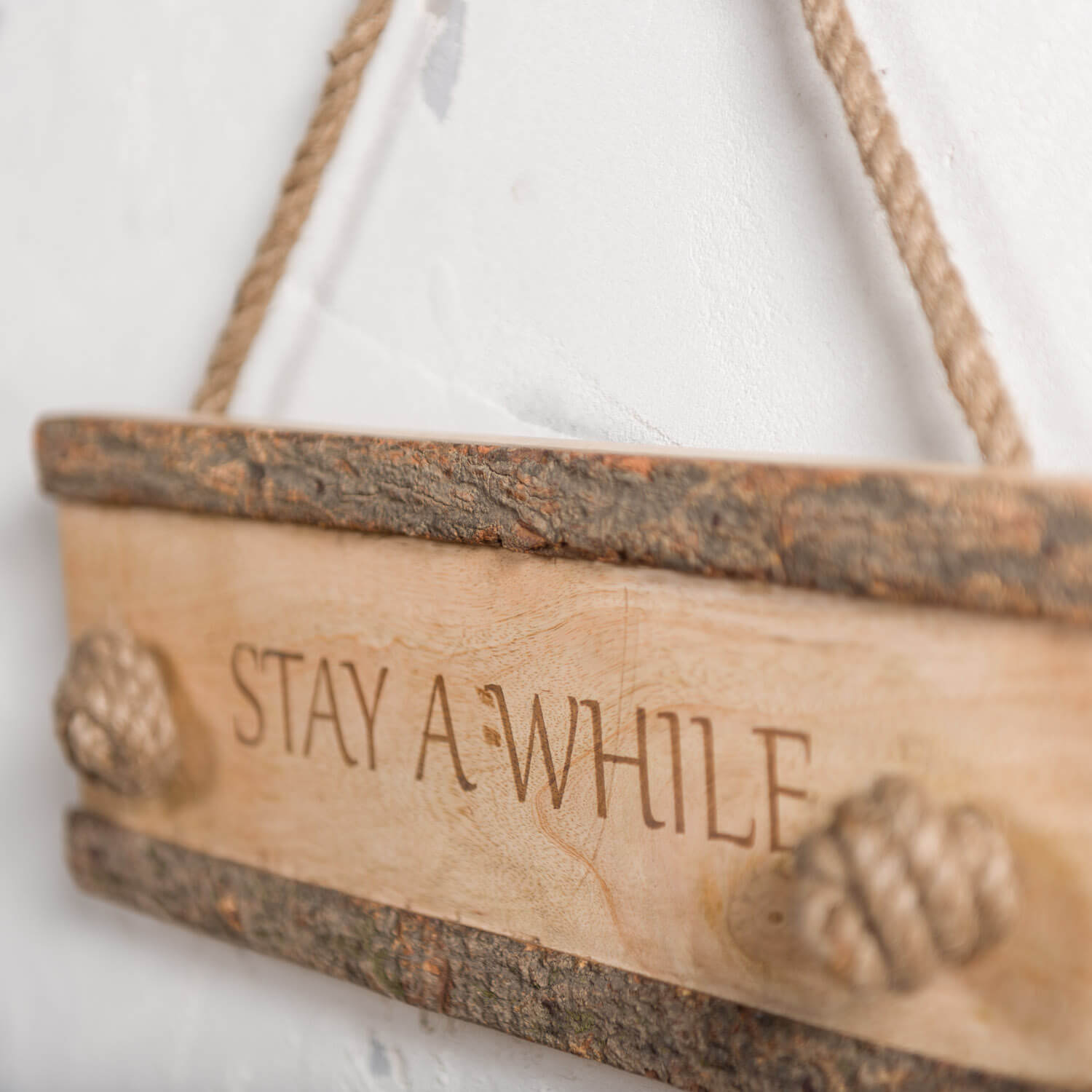 Stay A While Carved Wood Hanging Sign