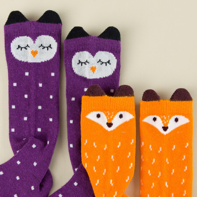Fox and Owl Kneehigh Socks