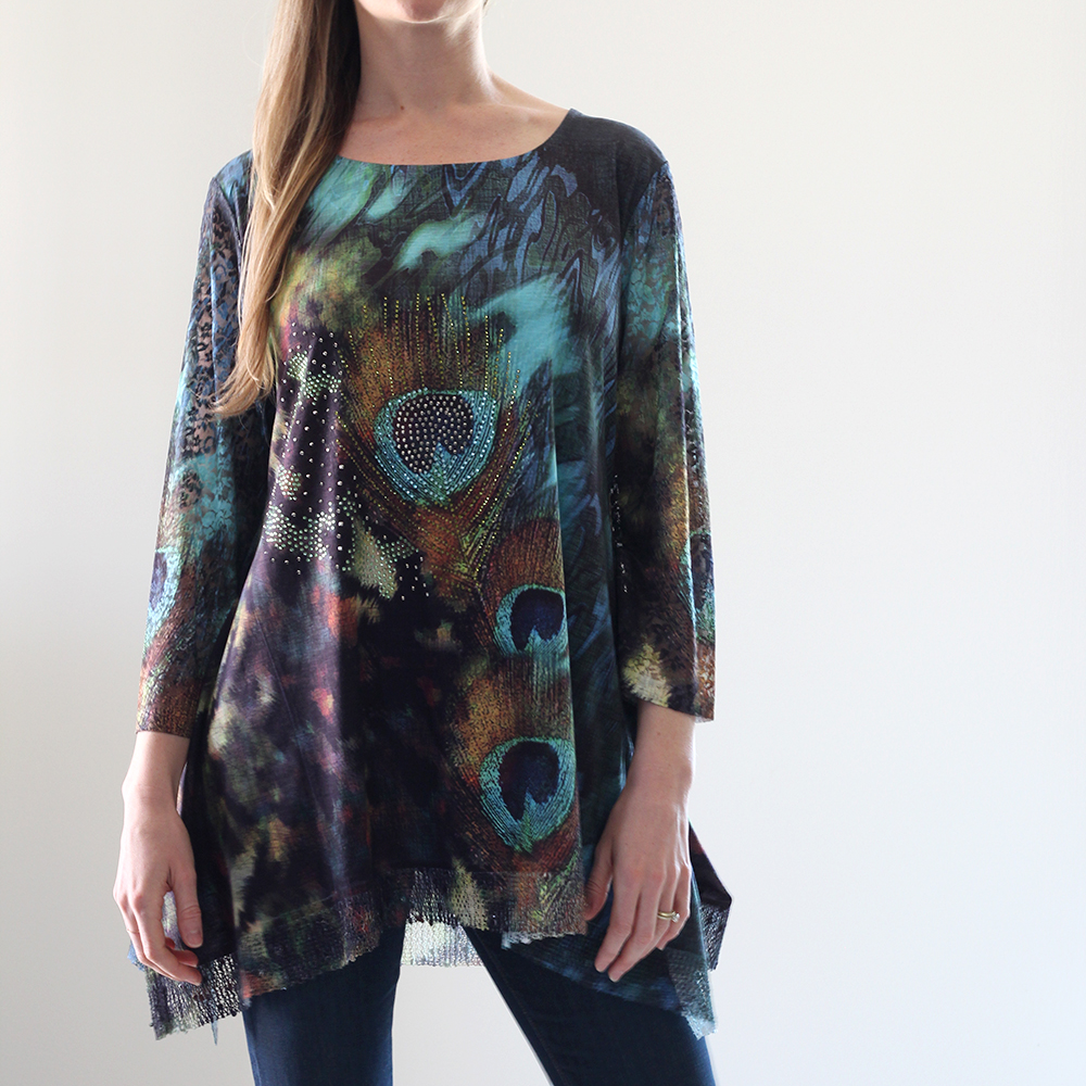 Dark Peacock Print Tunic