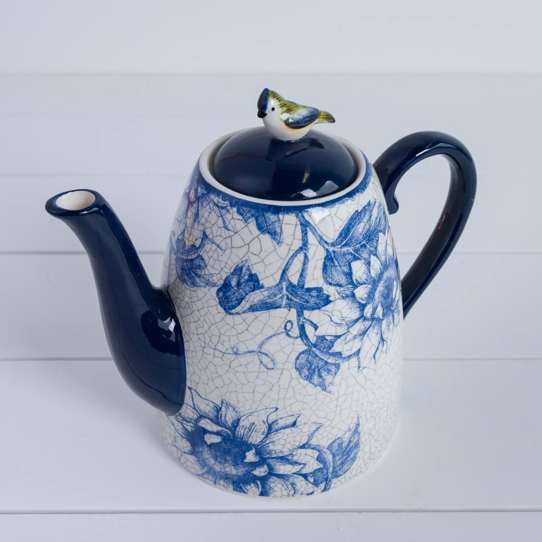 Blue Garden Teapot