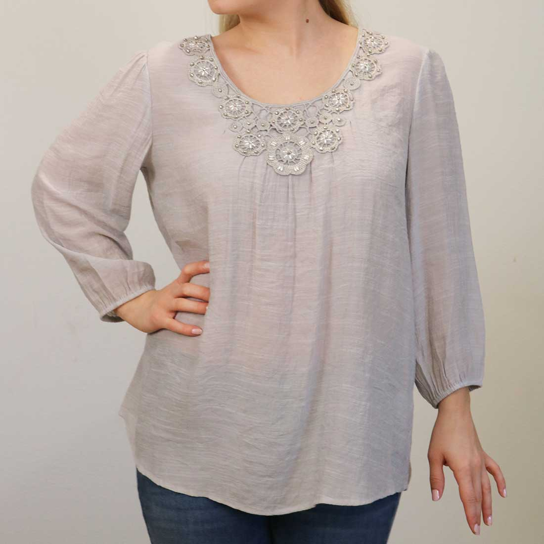 Light Gray Embroidered Pearl Yoke Top