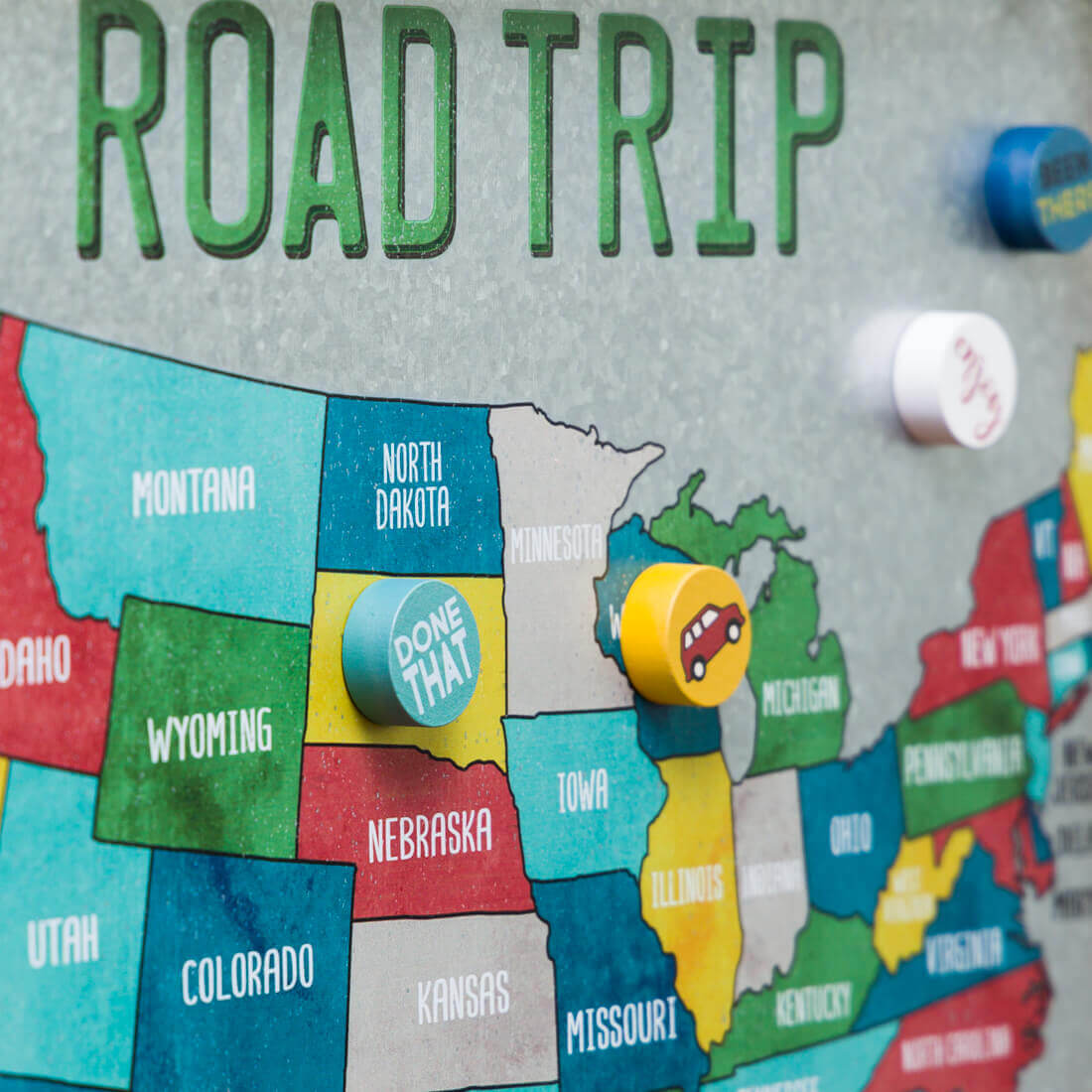 Road Trip Aluminum Map of the United States of America - magnets included