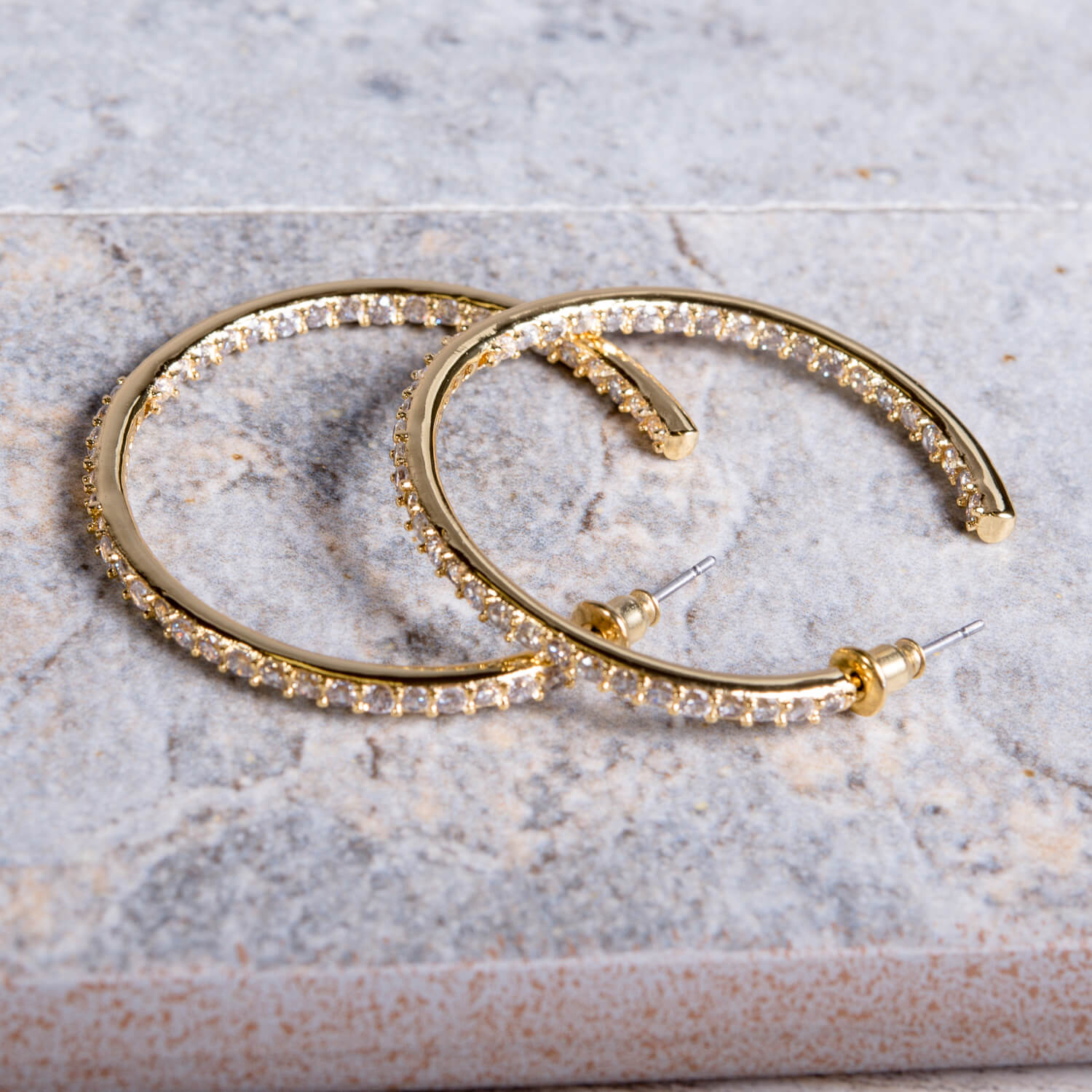 Gold Cubic Zirconia Inside-Out Hoop Earring