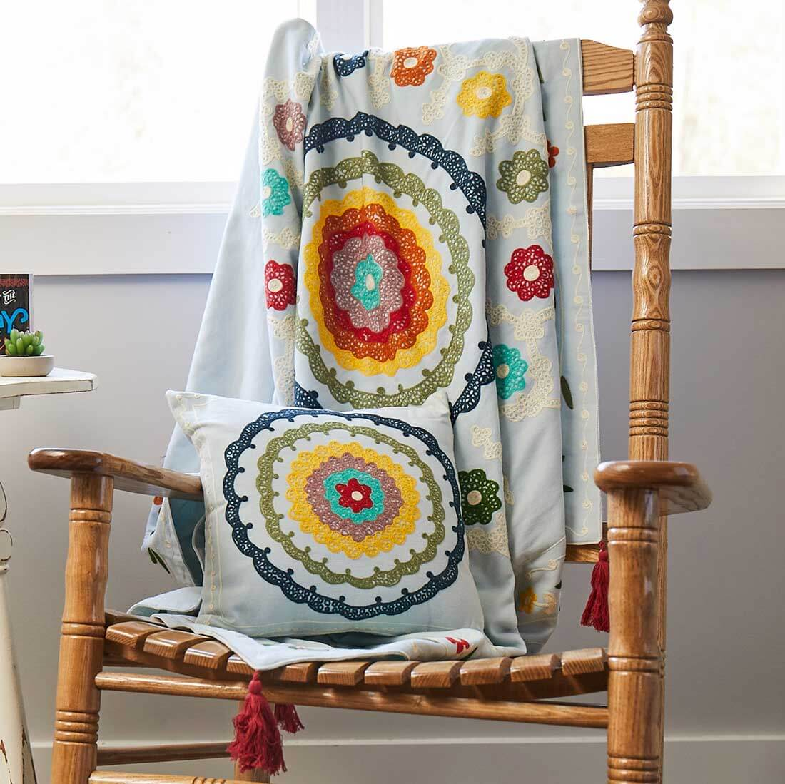 Floral Embroidered Throw