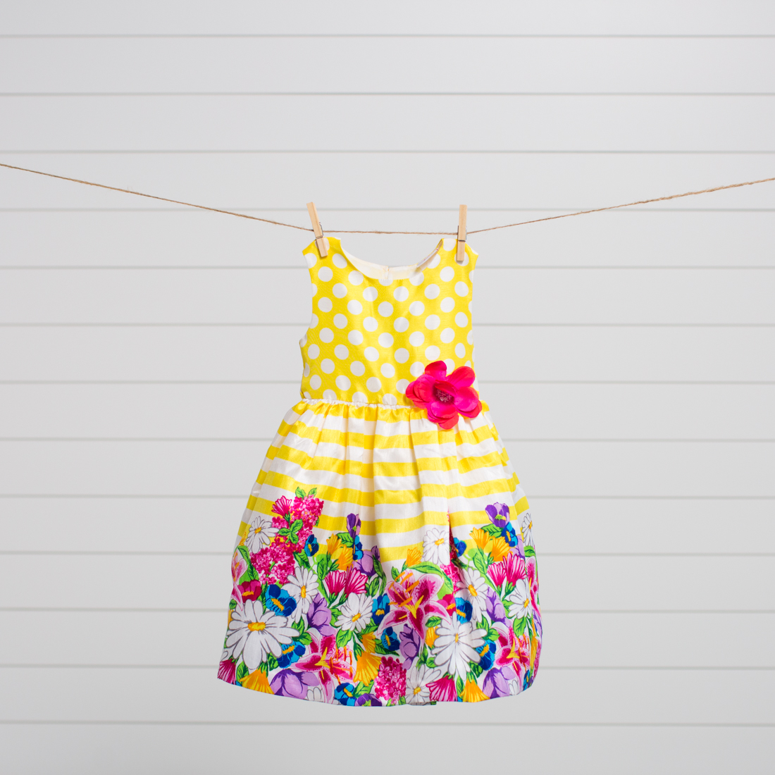 Kids Striped Floral Dress