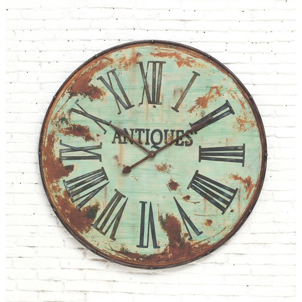 Distressed Antique Metal Wall Clock
