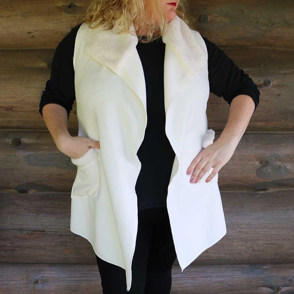 Womens Sherpa Vest Cream