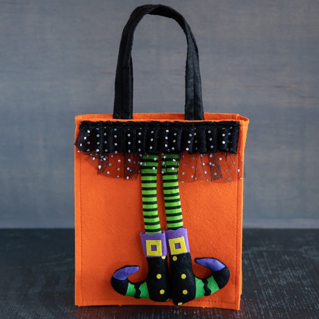 Halloween bag orange black felt