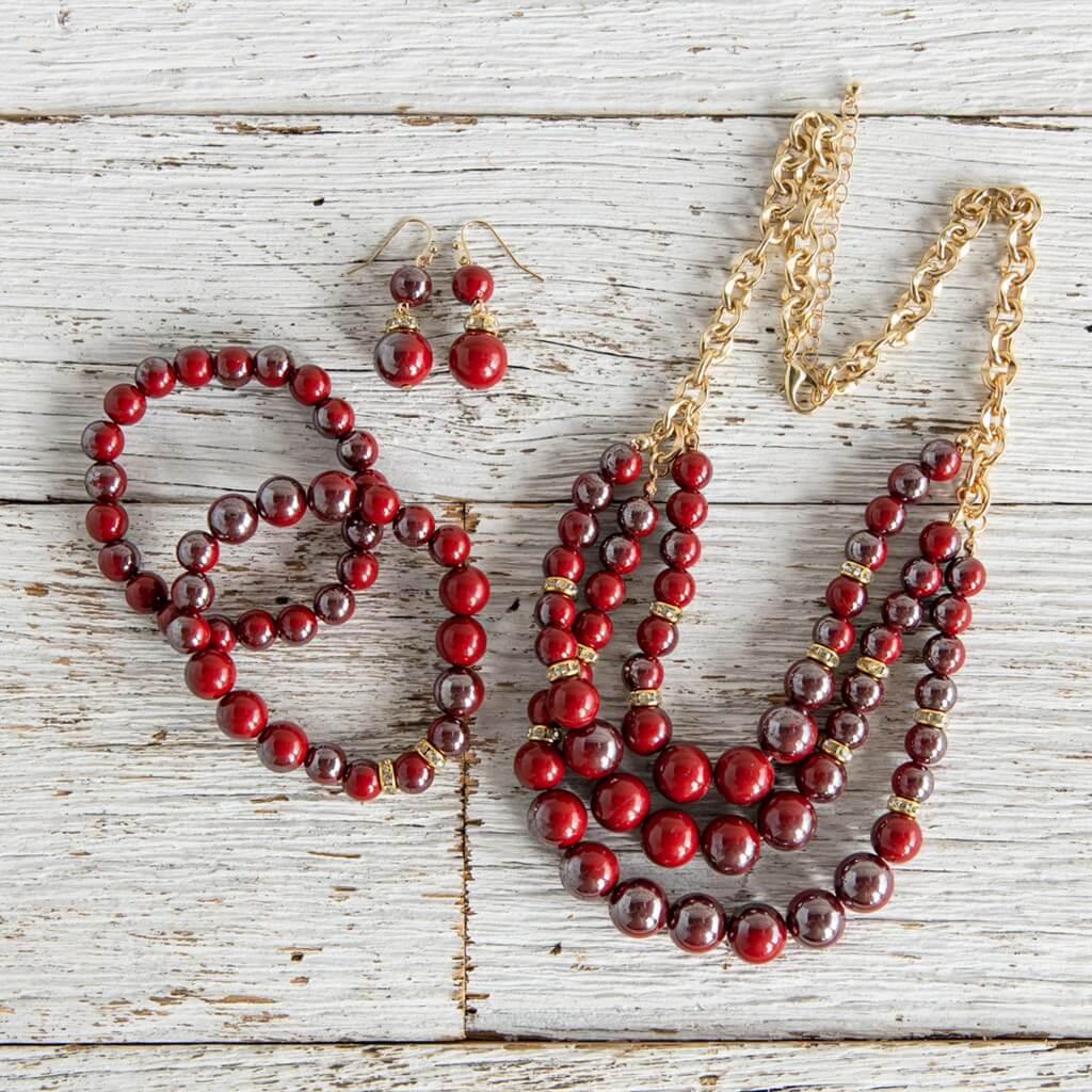 3-Piece Red Braclet, Necklace and Earring Set