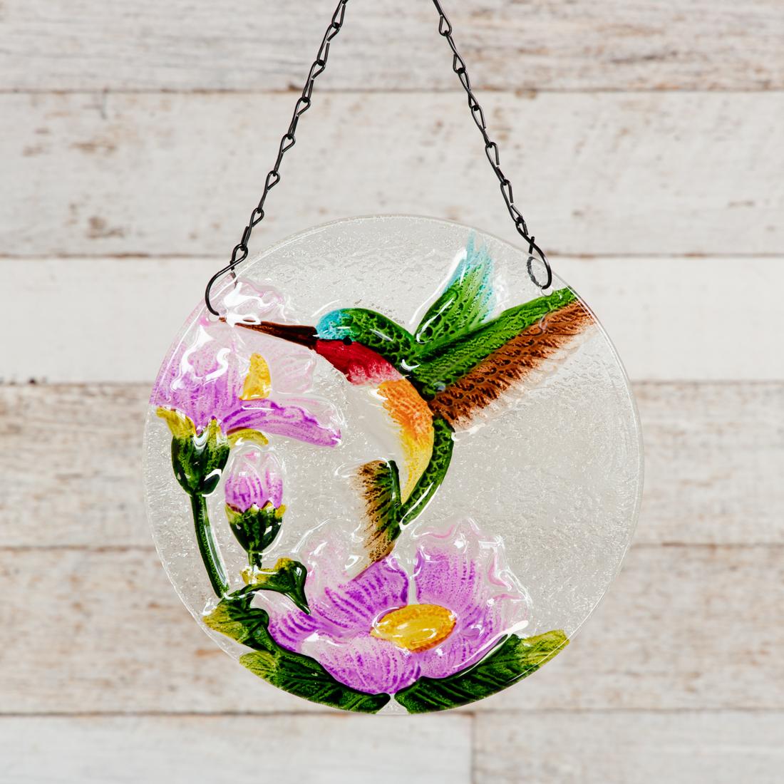 Glass Sun Catcher with Humingbird Design