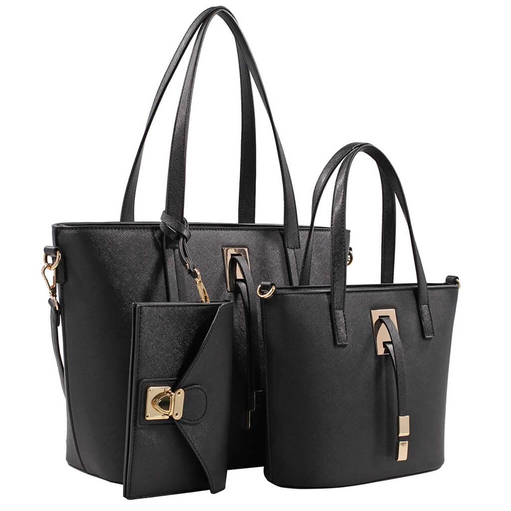 Three piece tote bag black