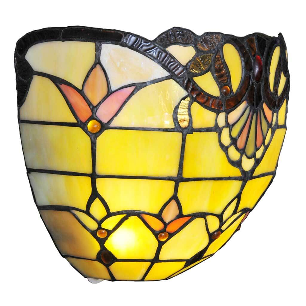 Tiffany Style Stained Glass Wireless LED Wall Sconce - Amber