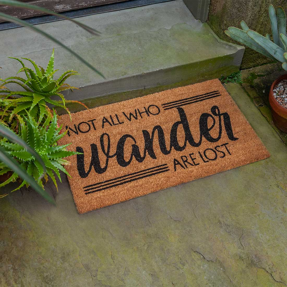 Not All Who Wander Slip resistant Coir Doormat