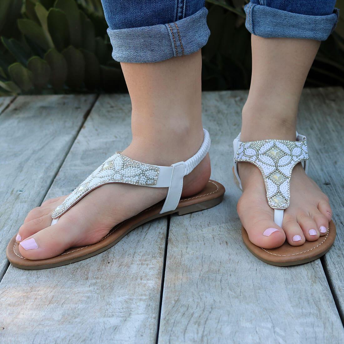 White Beaded Sandal