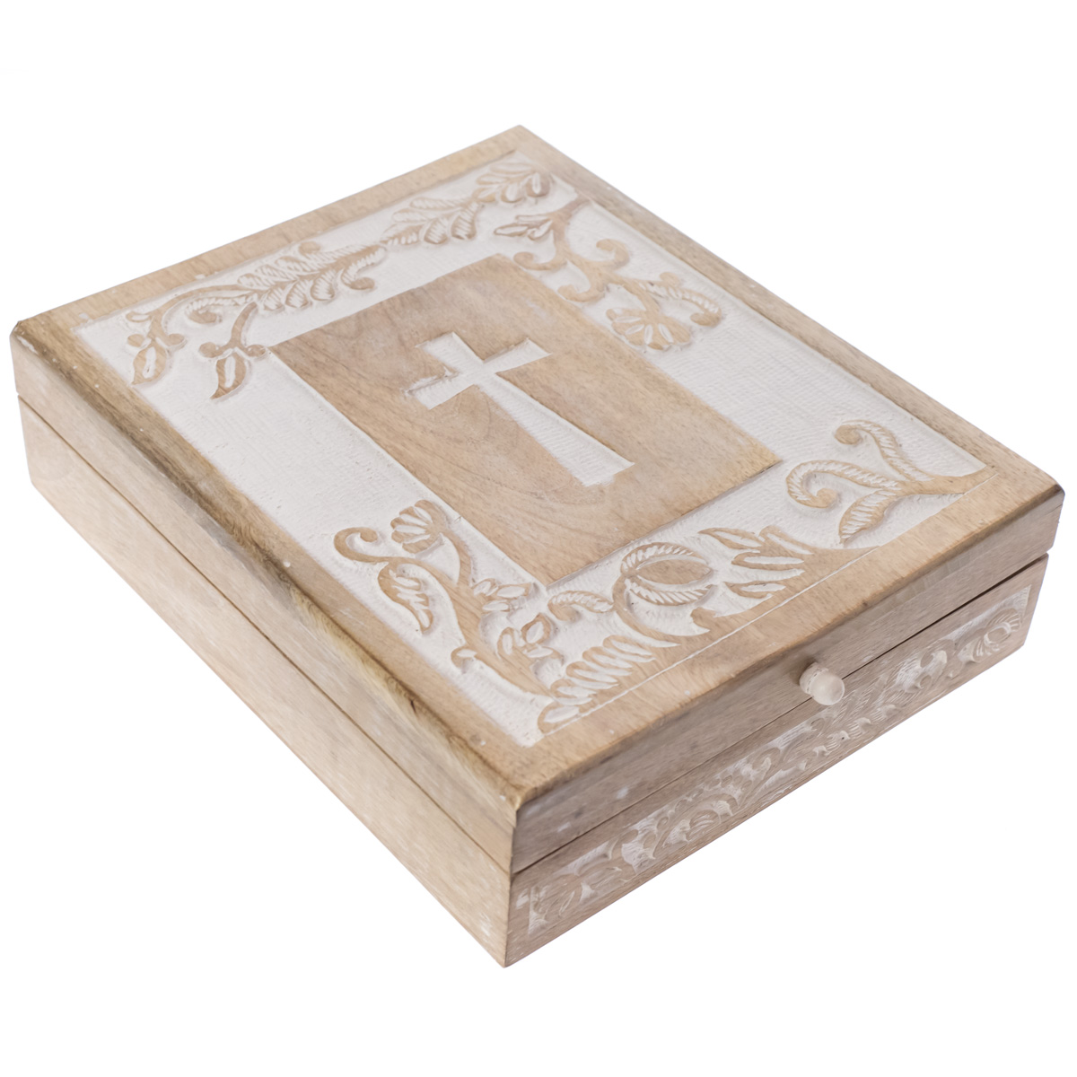 Whitewashed Wooden Bible Box