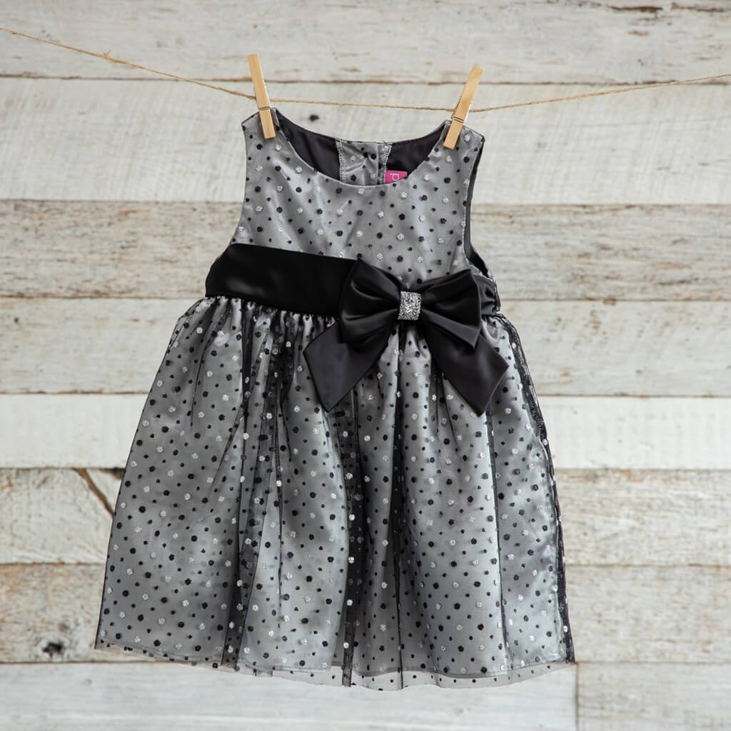 Toddler Christmas Dress Black with lace overlay