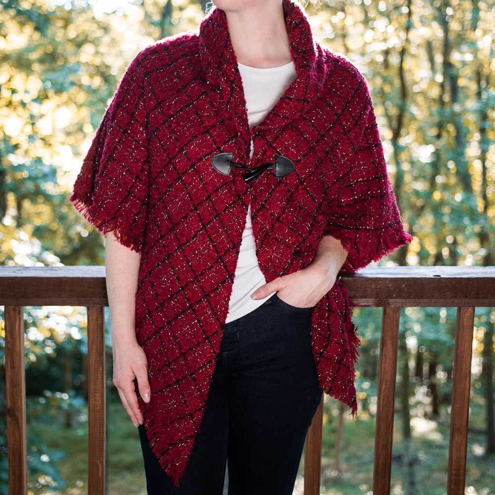 Women's Black and Red One Button Shawl
