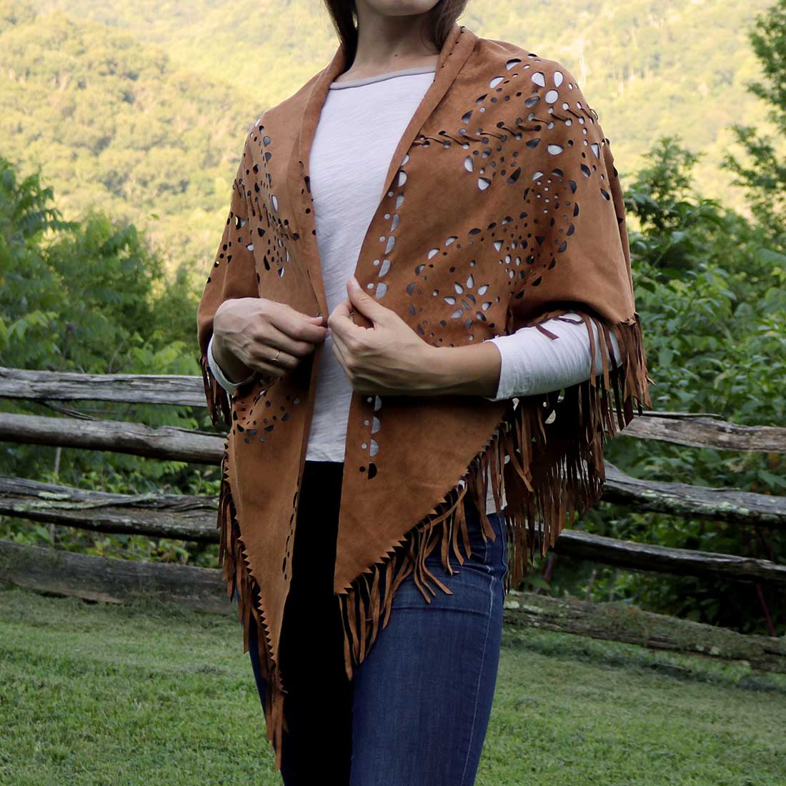Faux Suede Punched Shawl
