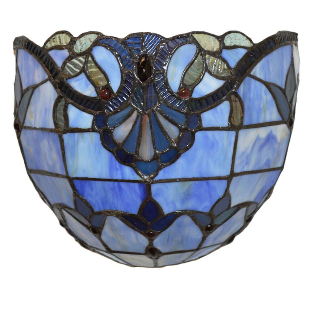 Tiffany Style Stained Glass Wireless LED Wall Sconce - Blue