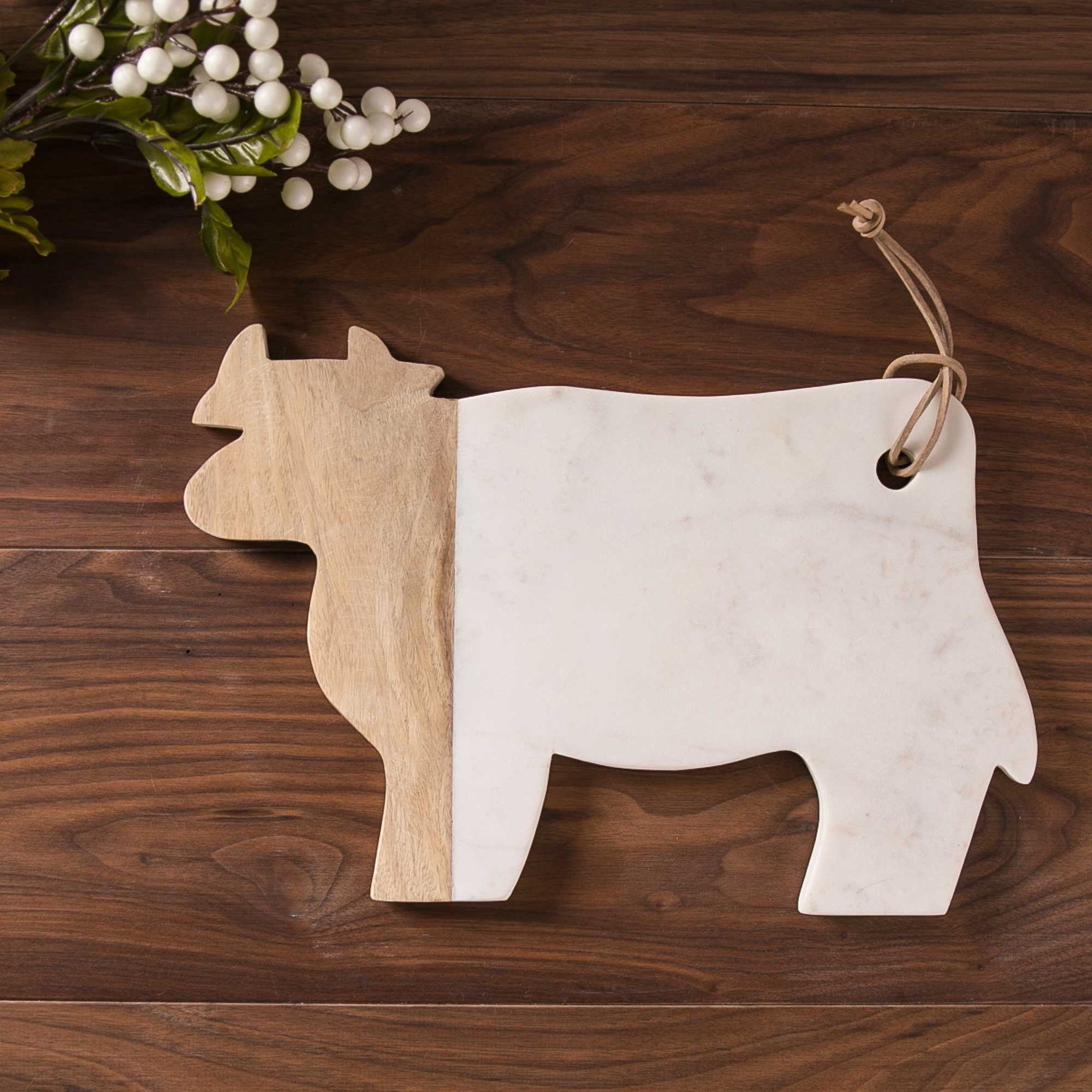 Marble and Wood Cow Cutting Board