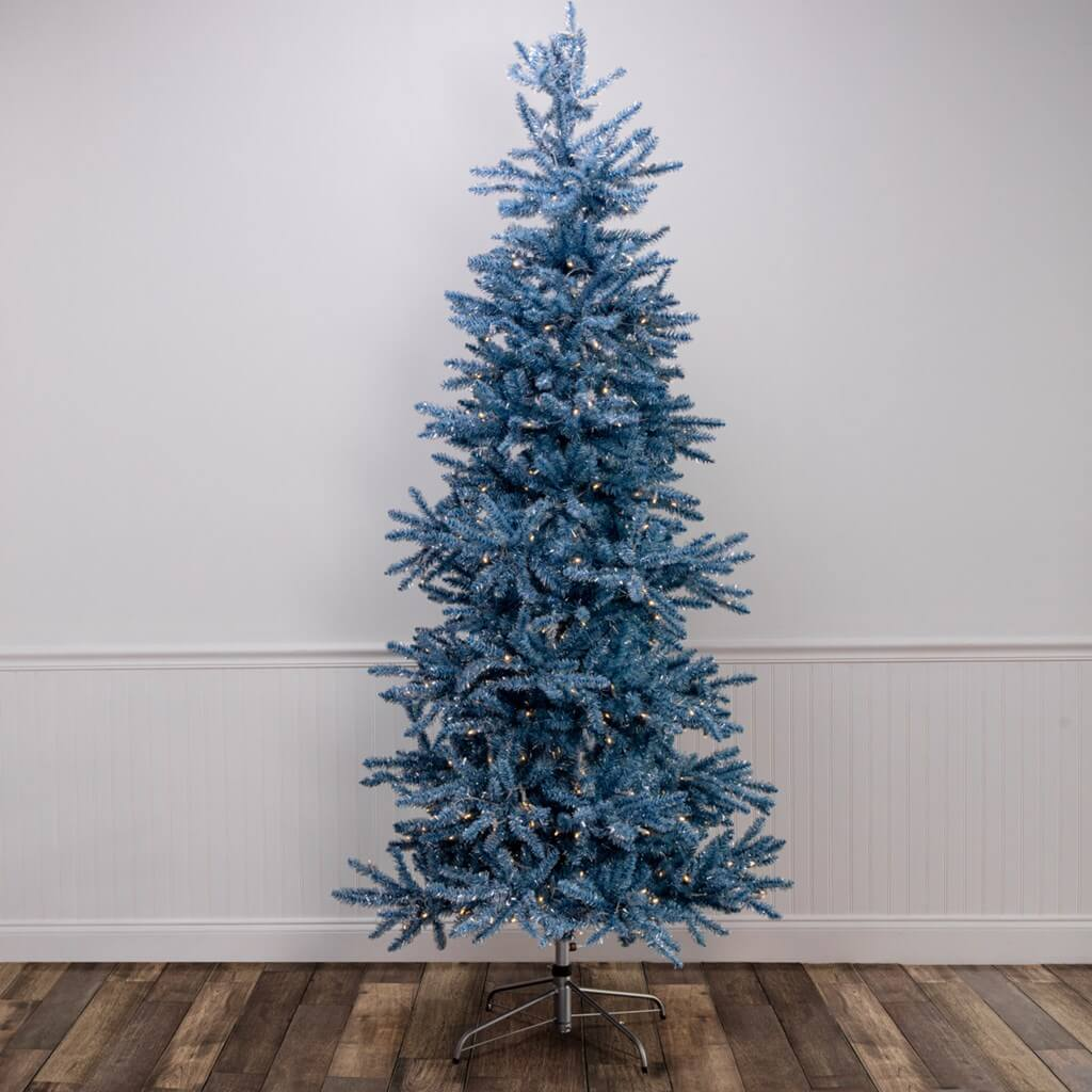 Blue Flocked Christmas Tree - lights included