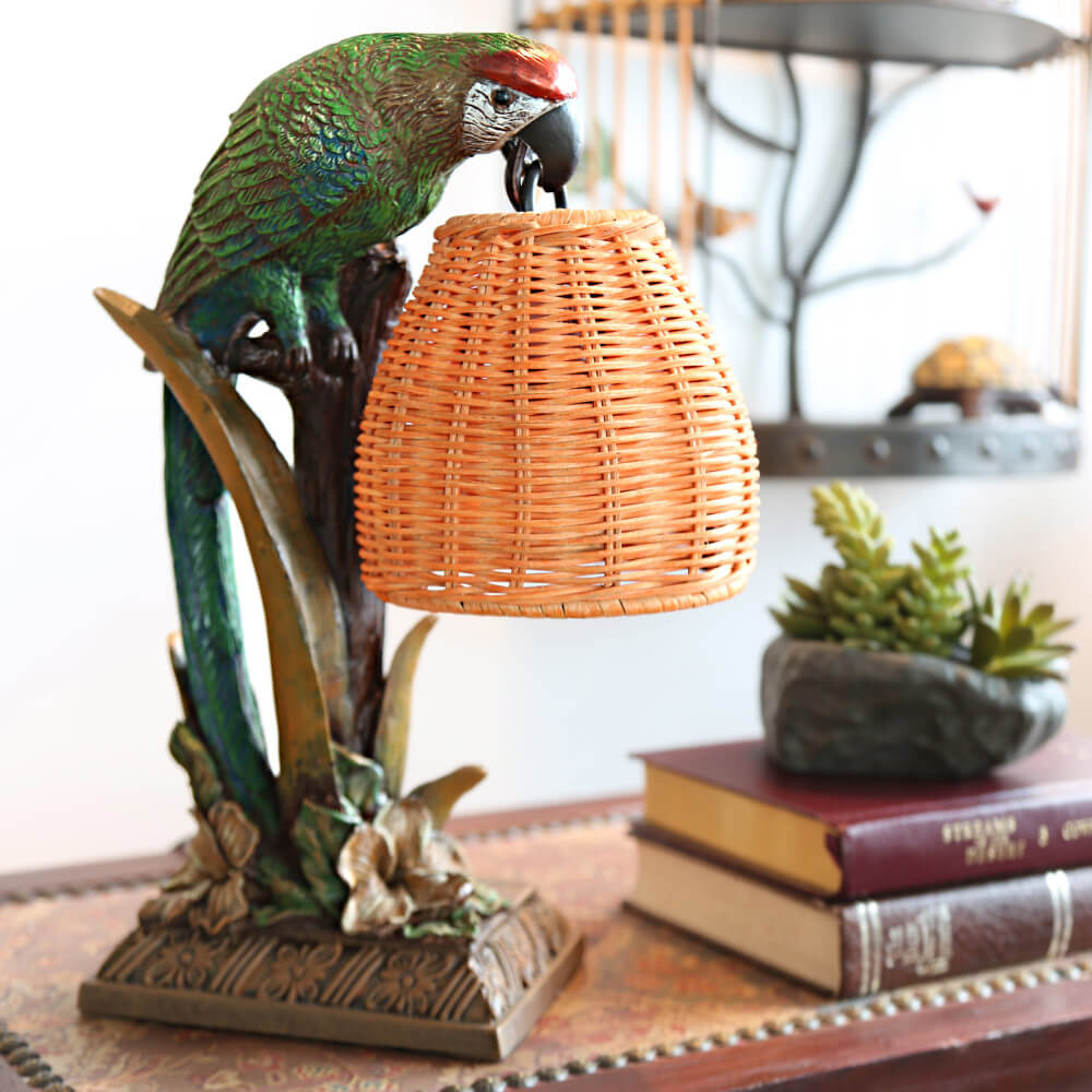 Parrot Wicker Basket Shade Table Lamp