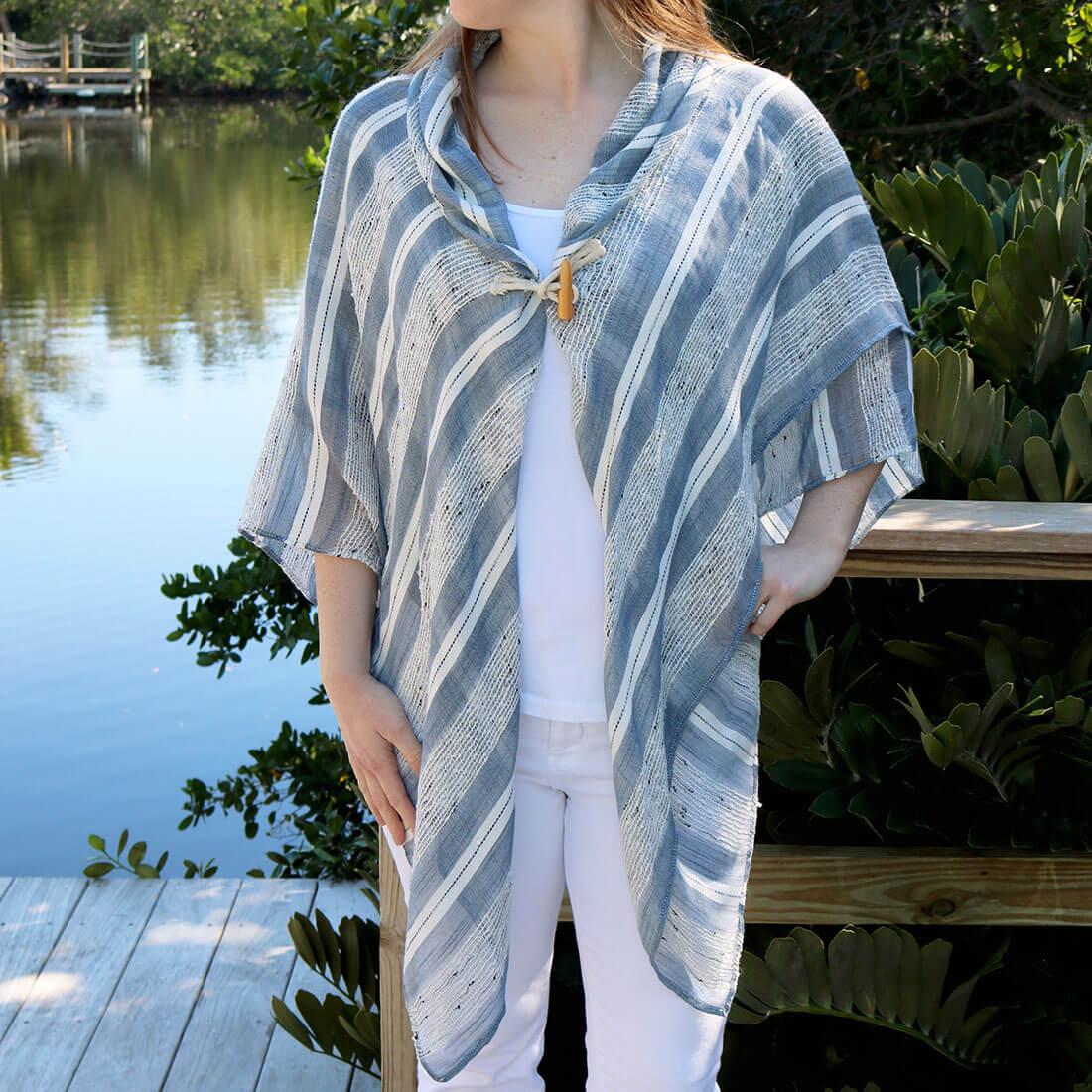Textured Stripe Toggle Shawl