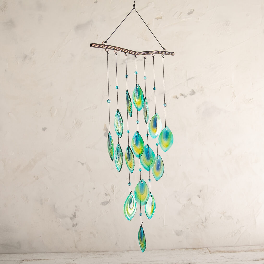 Glass Peacock Feathers Wind Chime