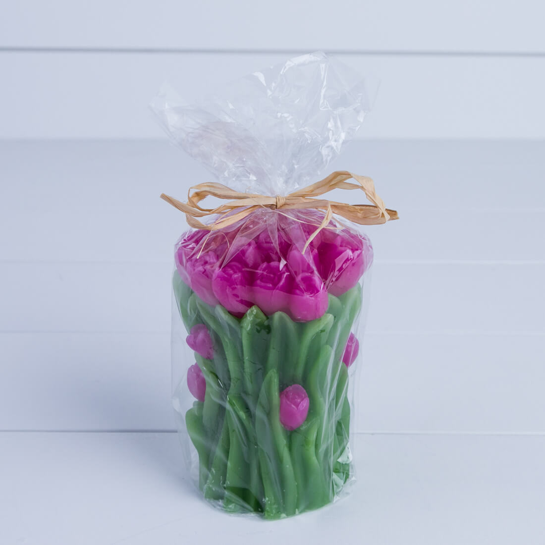 Pink Roses Bouquet Piller Candle