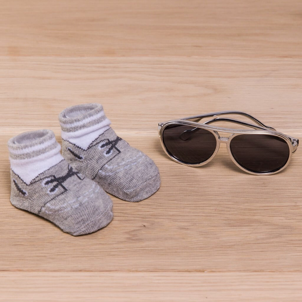 Sock and Sunglasses set for Infants in grey