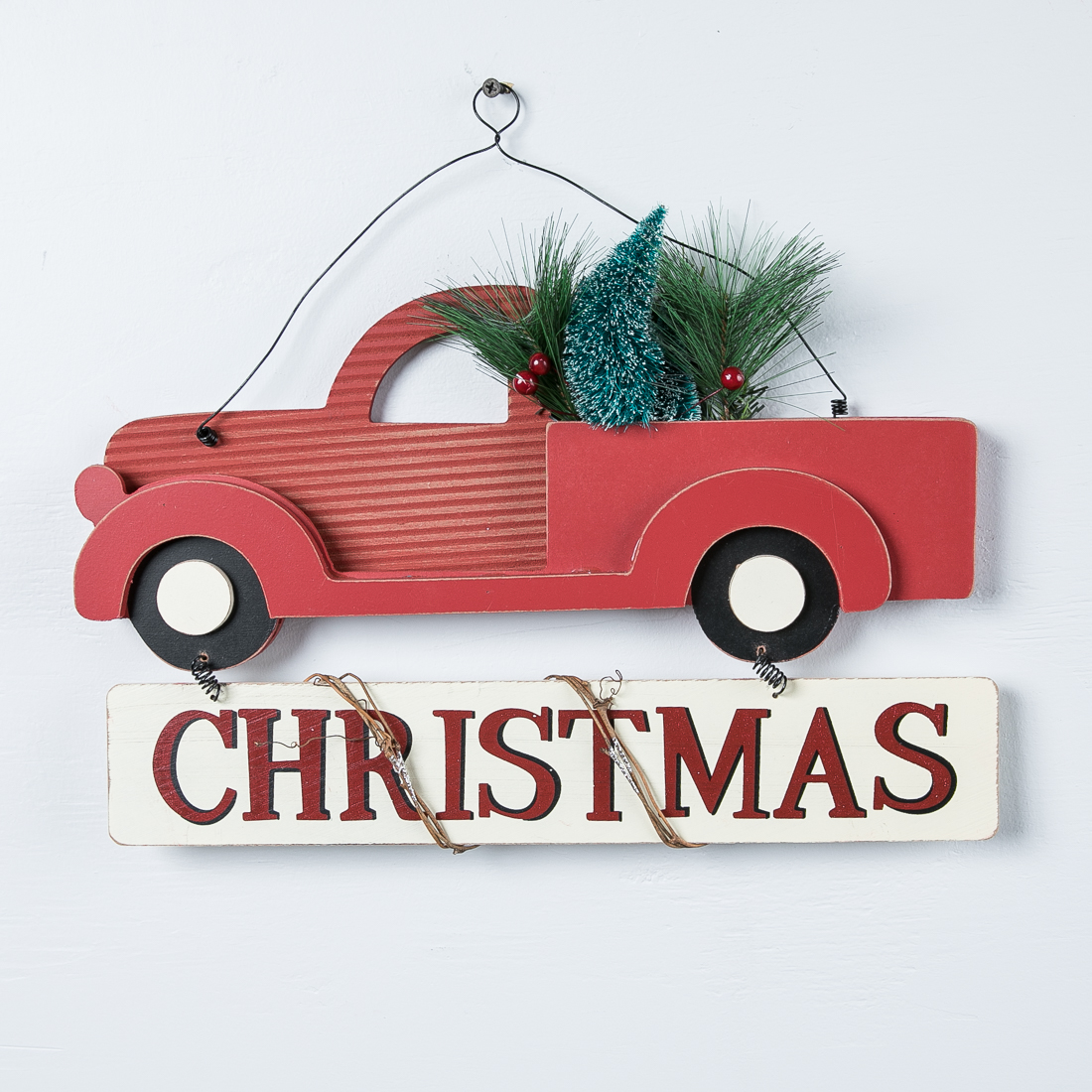 Red Truck Christmas Hanging Sign