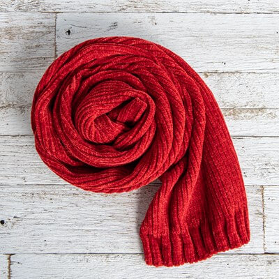 Red Chennille Scarf
