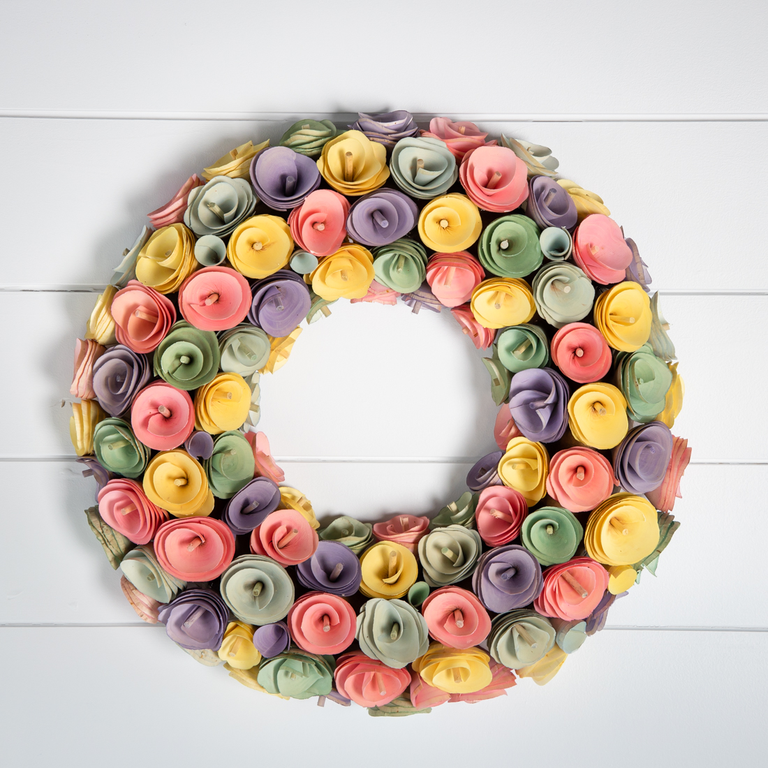Wood Flower Wreath