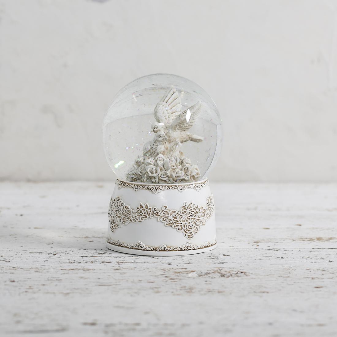 Vintage Love Bird Glitter Globe