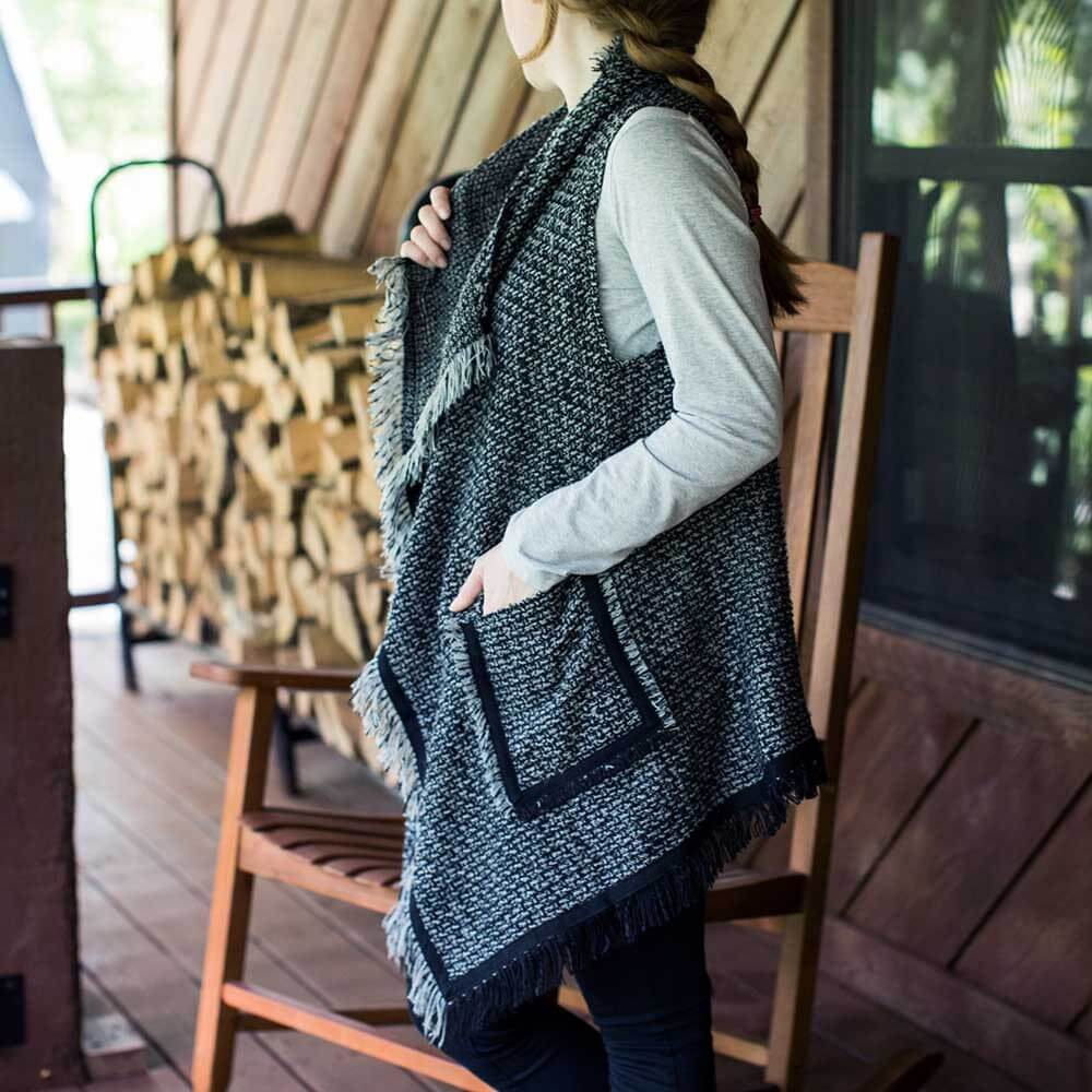 Gray and Black marled shawl collar vest