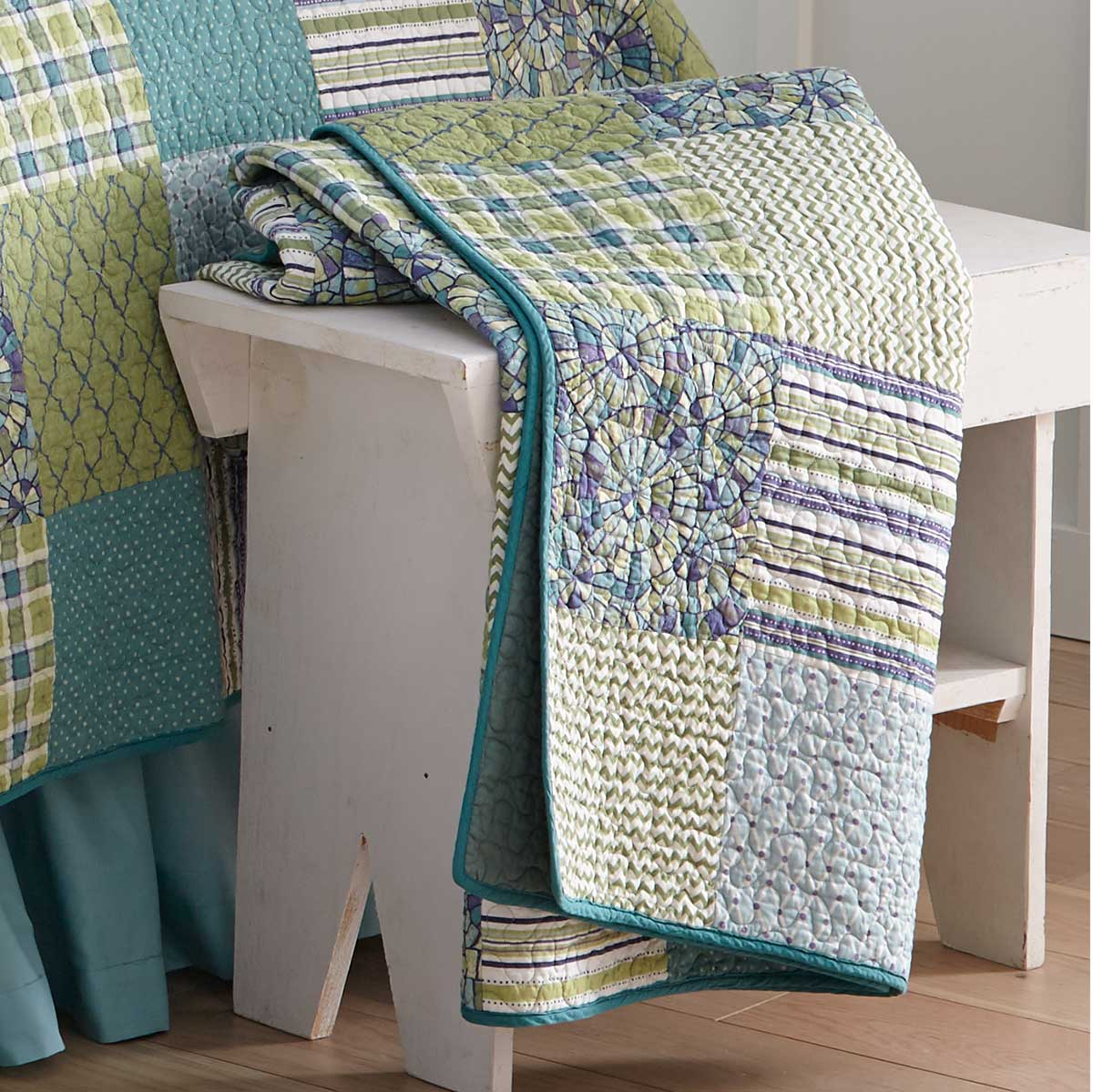 Riptide Patchwork Quilted Throw Blanket