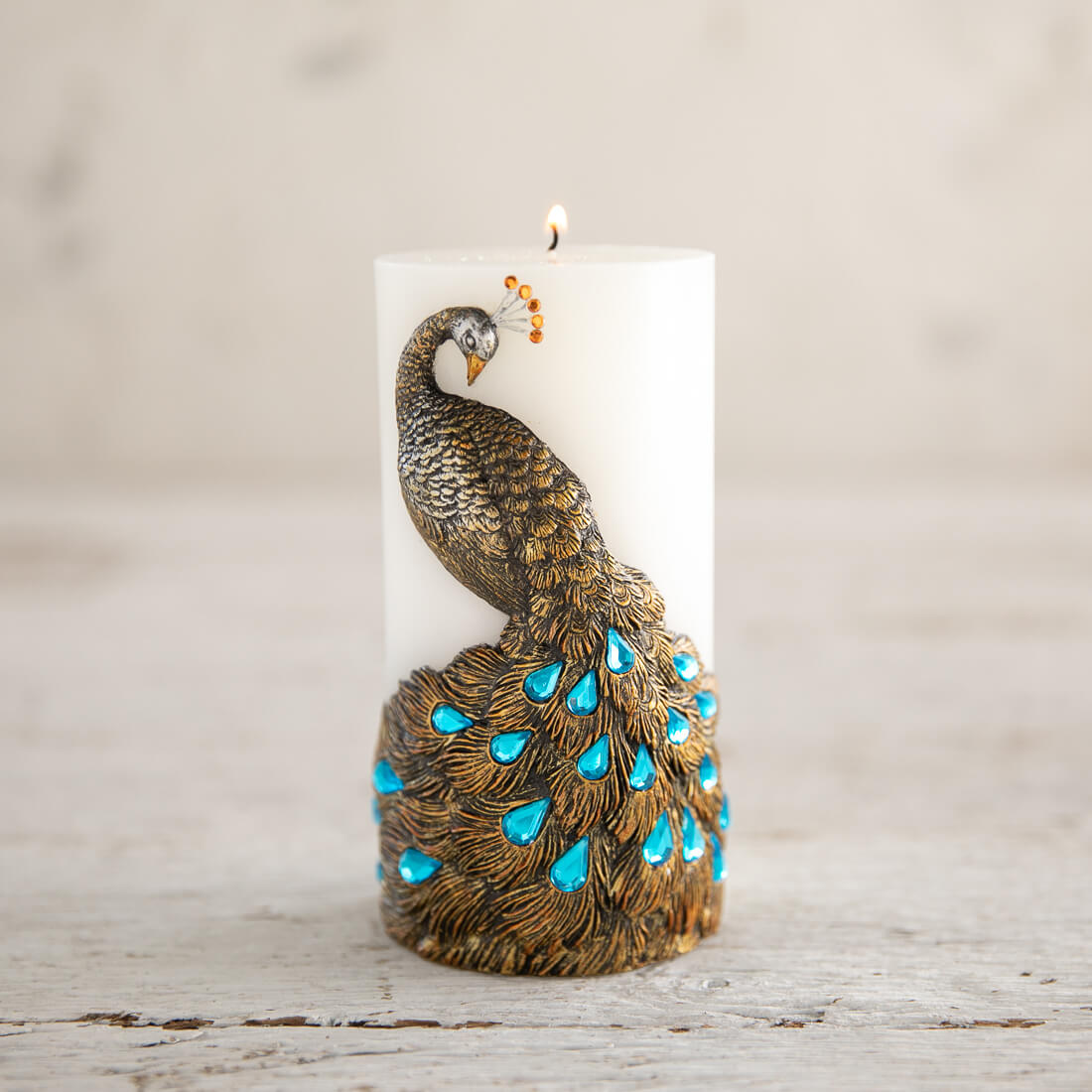 Embossed Peacock Piller Candle