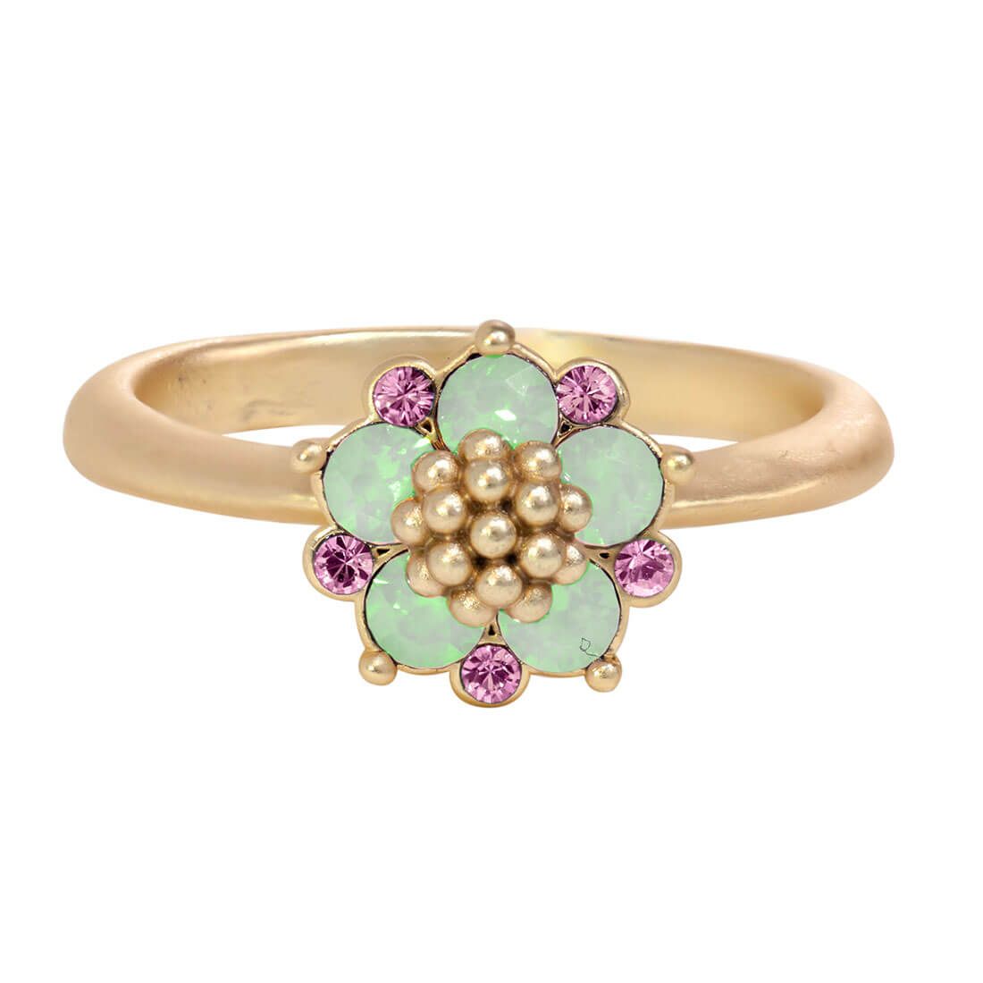Swarovski Crystal Green Flower Ring - 14k Gold