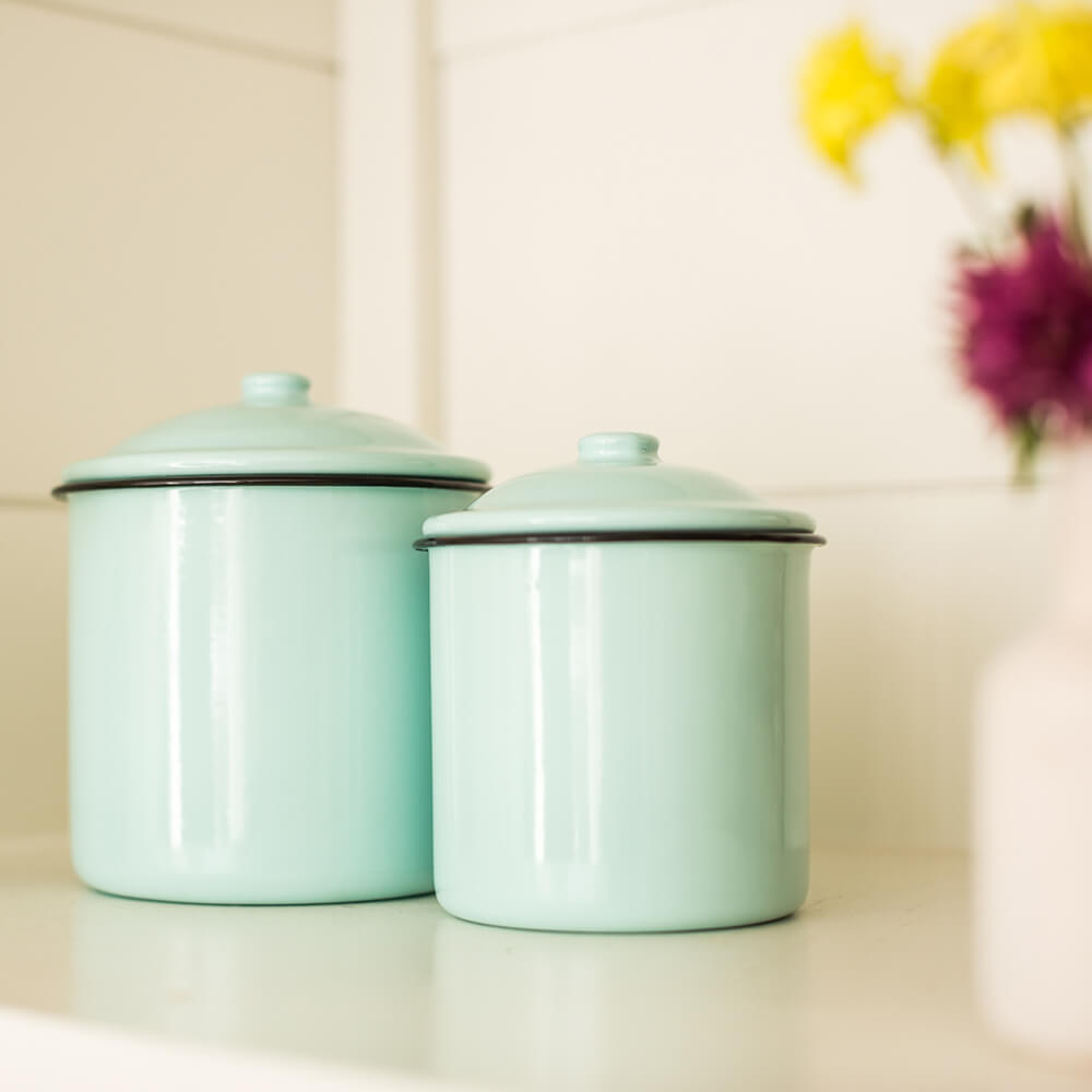 Decorative Enamelware Canisters