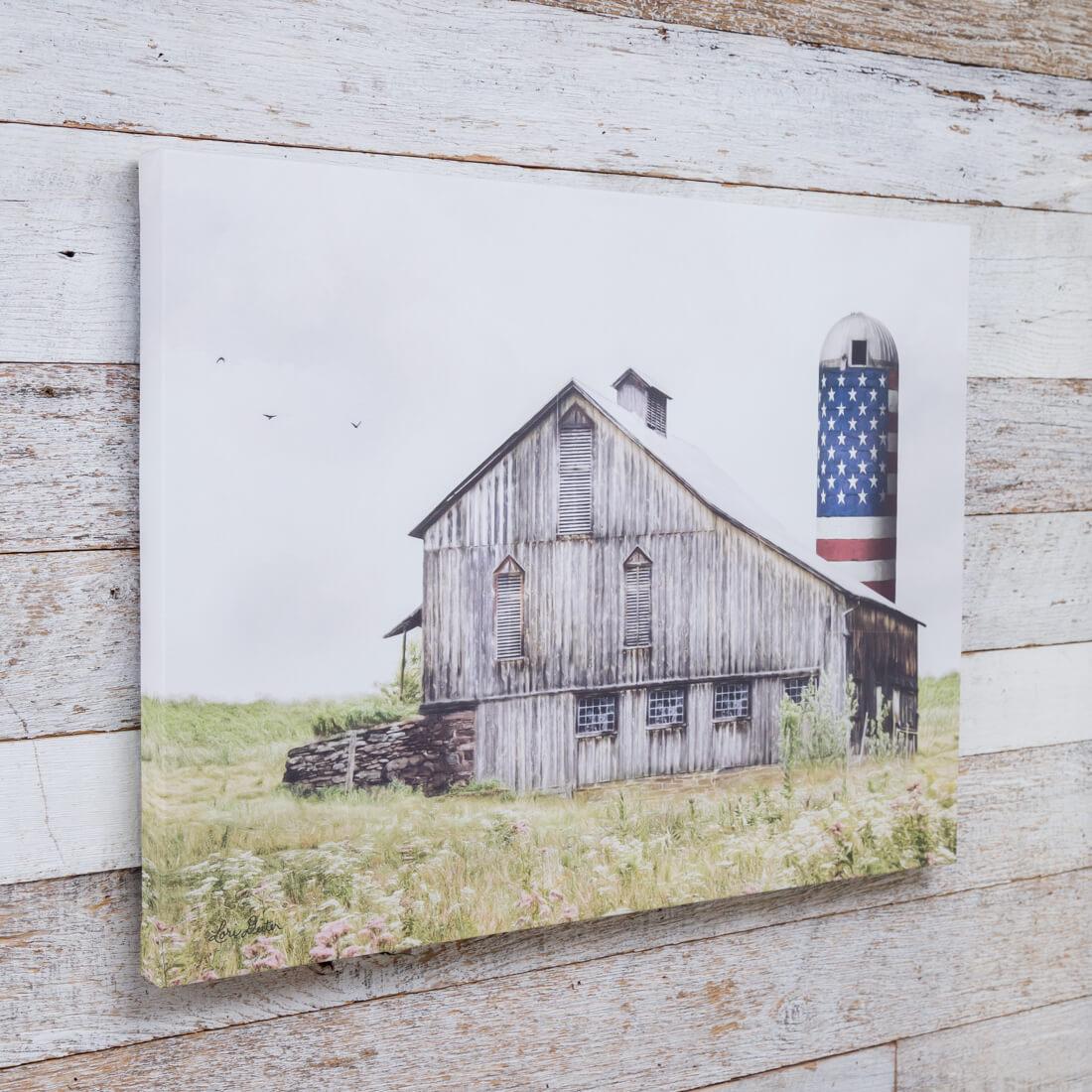 Americana Barn with Silos Canvas