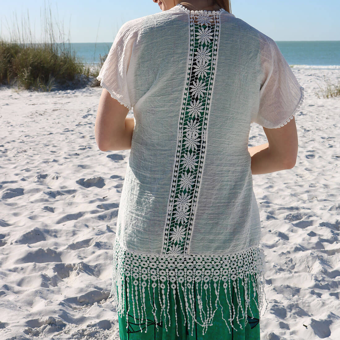 Crochet Back Fringe Trim Cardigan