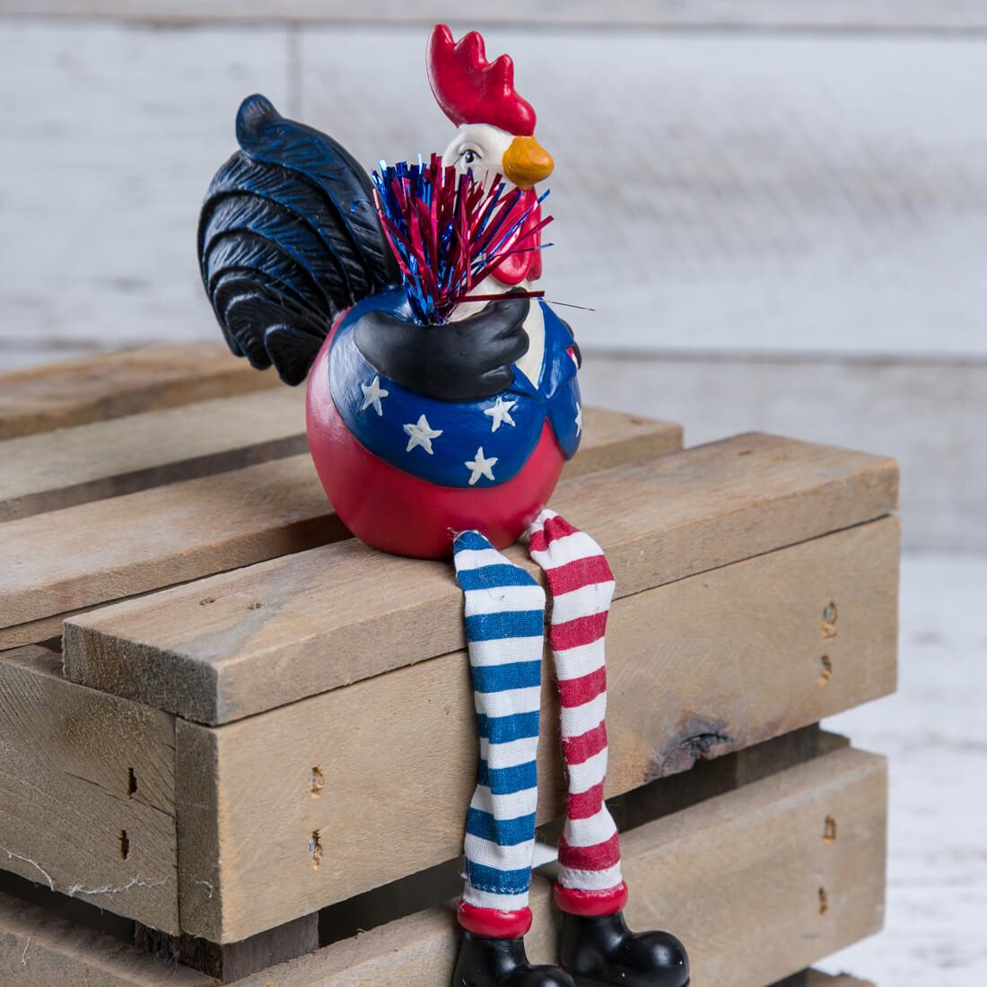 Patriotic Rooster Shelf Sitter - Boy