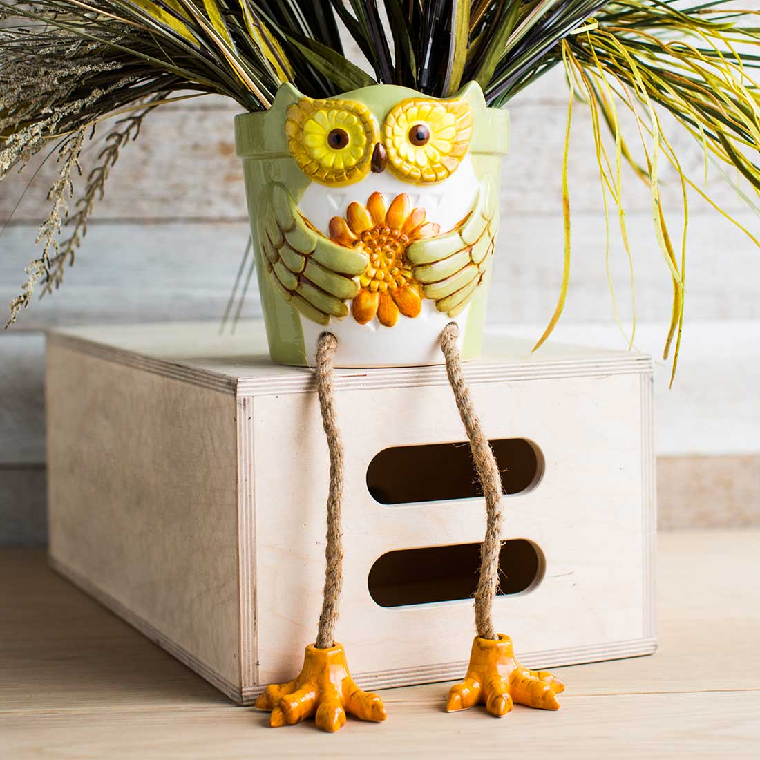 Ceramic Owl Planter Sitter