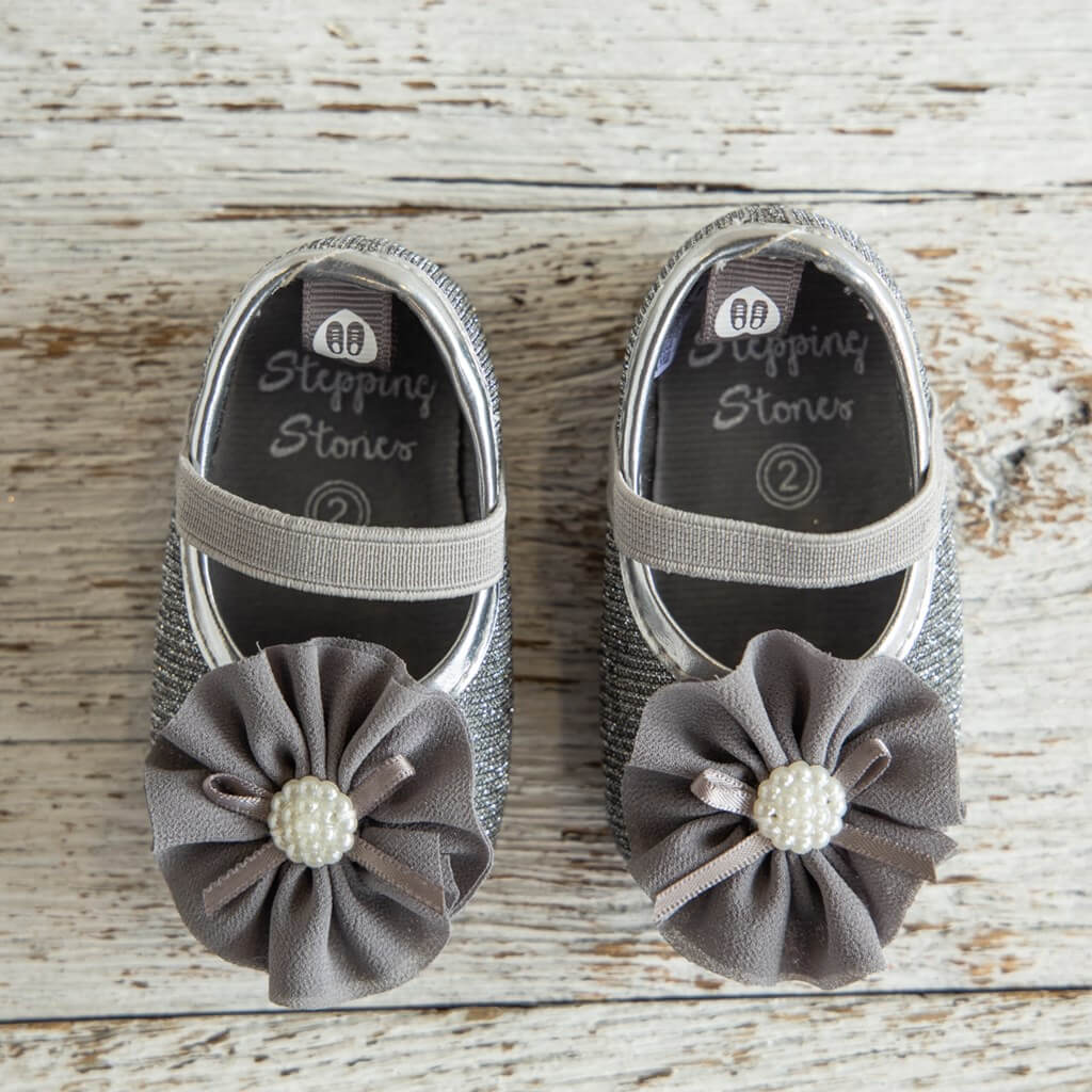 Grey Pearl Holiday Sandals for Toddlers